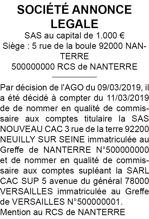 modele annonce legale cac92